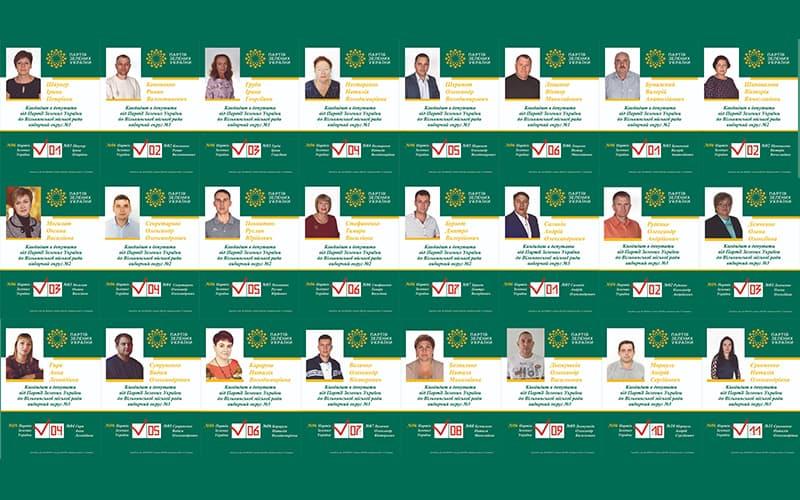 Кандидати в депутати від Партії Зелених України до Вільнянської  міської ради